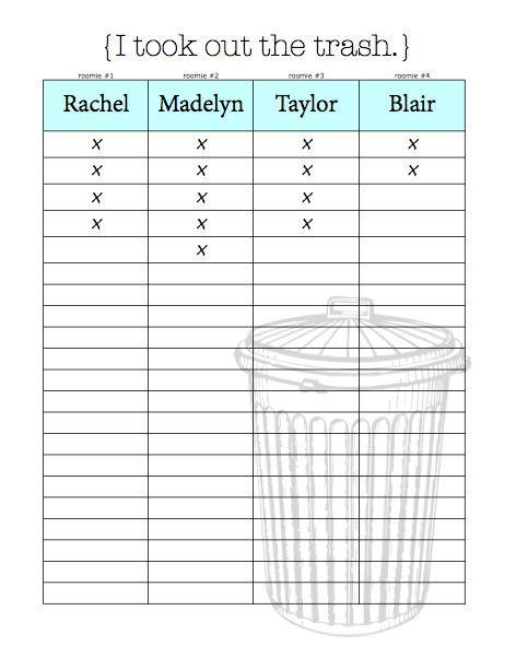 Chore Charts & Organizational Tips for Living With Roommates {Free Printables}