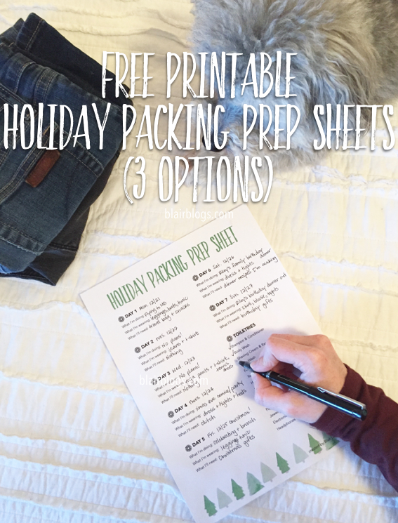 Free Printable Holiday Packing Prep Sheets | Blairblogs.com